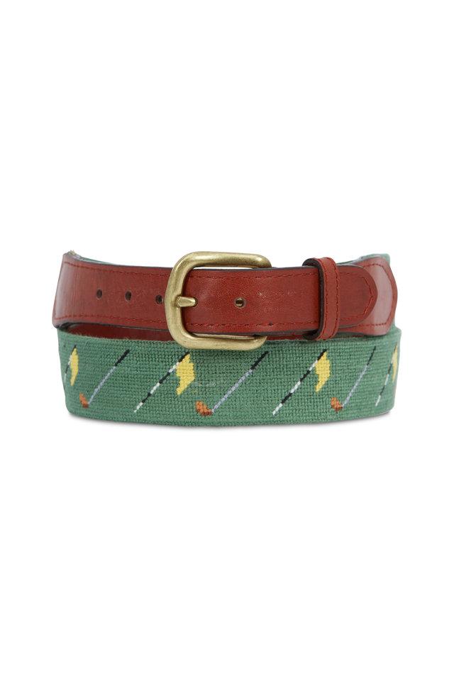 Golf Flag Sage Needlepoint & Chestnut Leather Belt