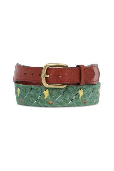 Smathers & Branson - Golf Flag Sage Needlepoint & Chestnut Leather Belt