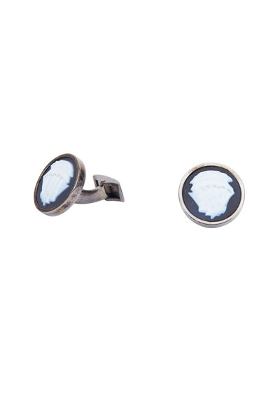 Spivey - Sterling Silver Agate Ship Cuff Links