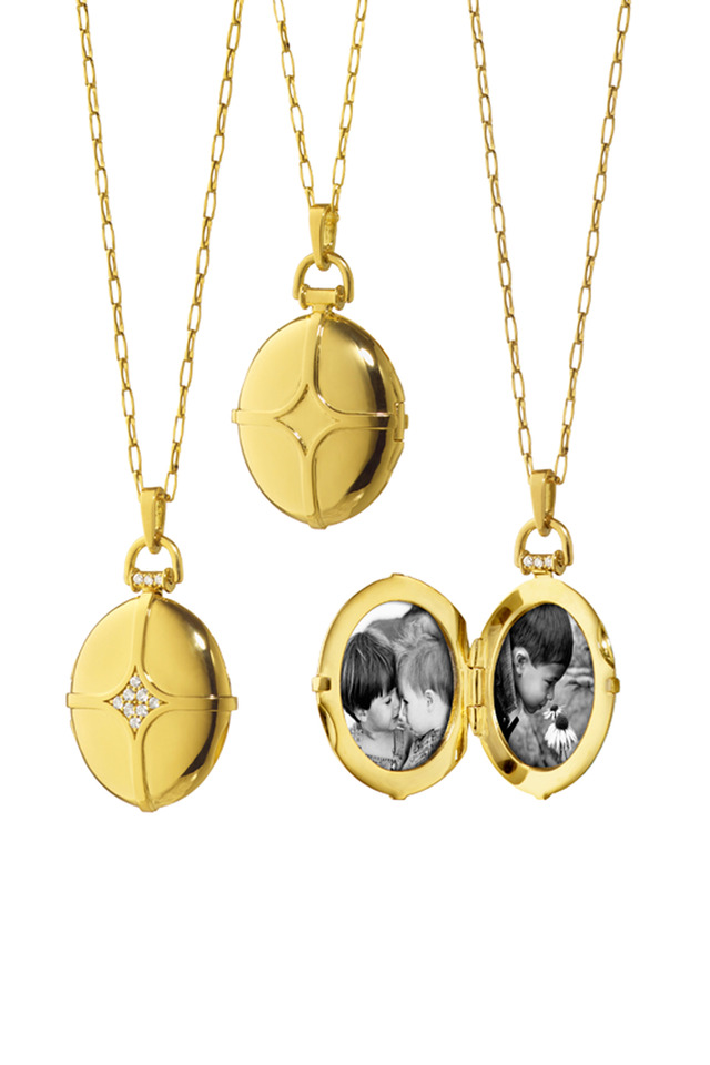 Gold Petite Diamond Dome Bridle Locket Necklace