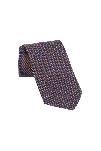 Ermenegildo Zegna - Brown & Navy Blue Geometric Silk Necktie