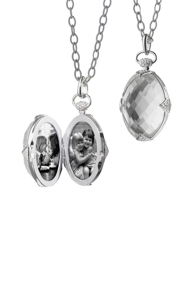 Sterling Silver Rock Crystal & Sapphire Locket