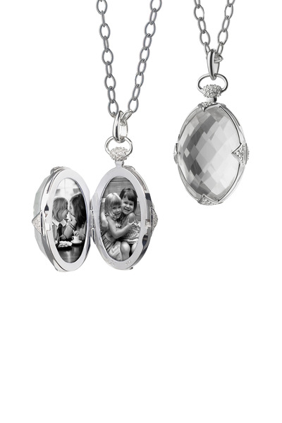Monica Rich Kosann - Sterling Silver Rock Crystal & Sapphire Locket