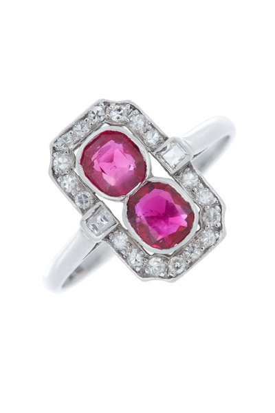 Fred Leighton - Ruby & Twin Diamond Cocktail Ring