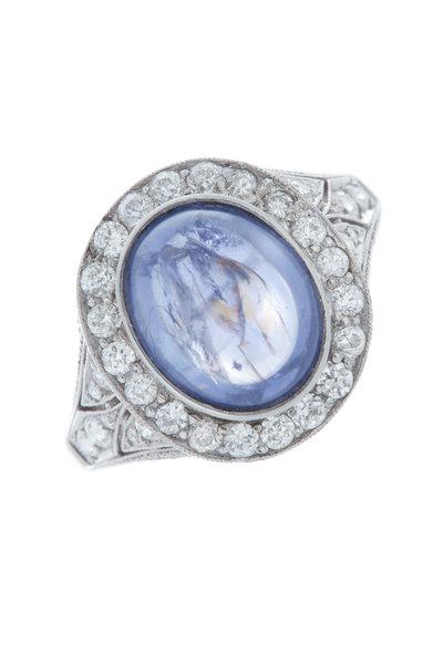 Fred Leighton - Art Deco Purple Sapphire Diamond Cocktail Ring