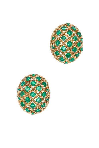 Fred Leighton - Yellow Gold Emerald Egg Button Earrings
