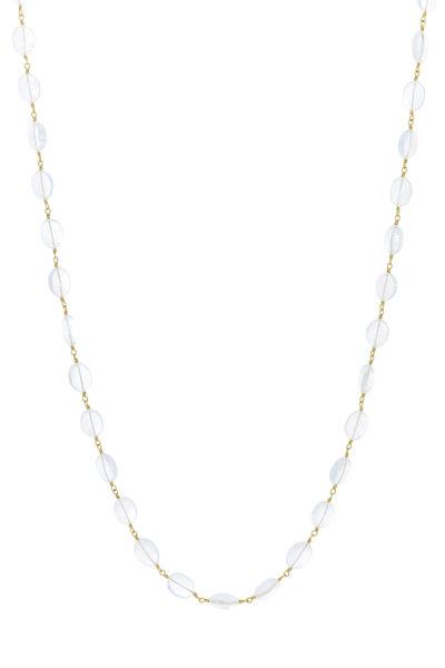 Caroline Ellen - Yellow Gold Oval Moonstone Wrap Necklace
