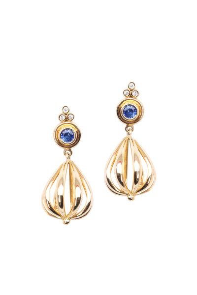 Temple St. Clair - 18K Gold Atom Sapphire & Diamond Drop Earrings