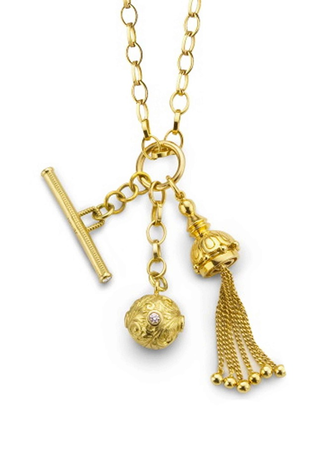 18K Yellow Gold Tassel, Toggle, Ball Necklace