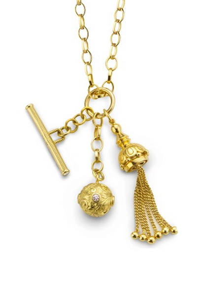 Monica Rich Kosann - 18K Yellow Gold Tassel, Toggle, Ball Necklace