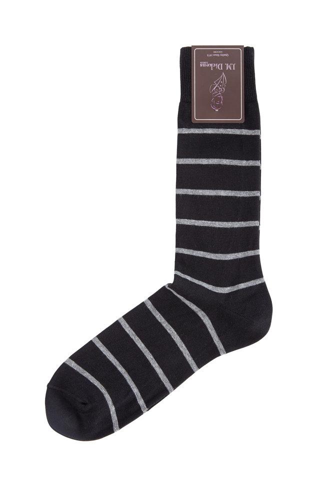 Black & Gray Striped Pima Cotton Blend Socks