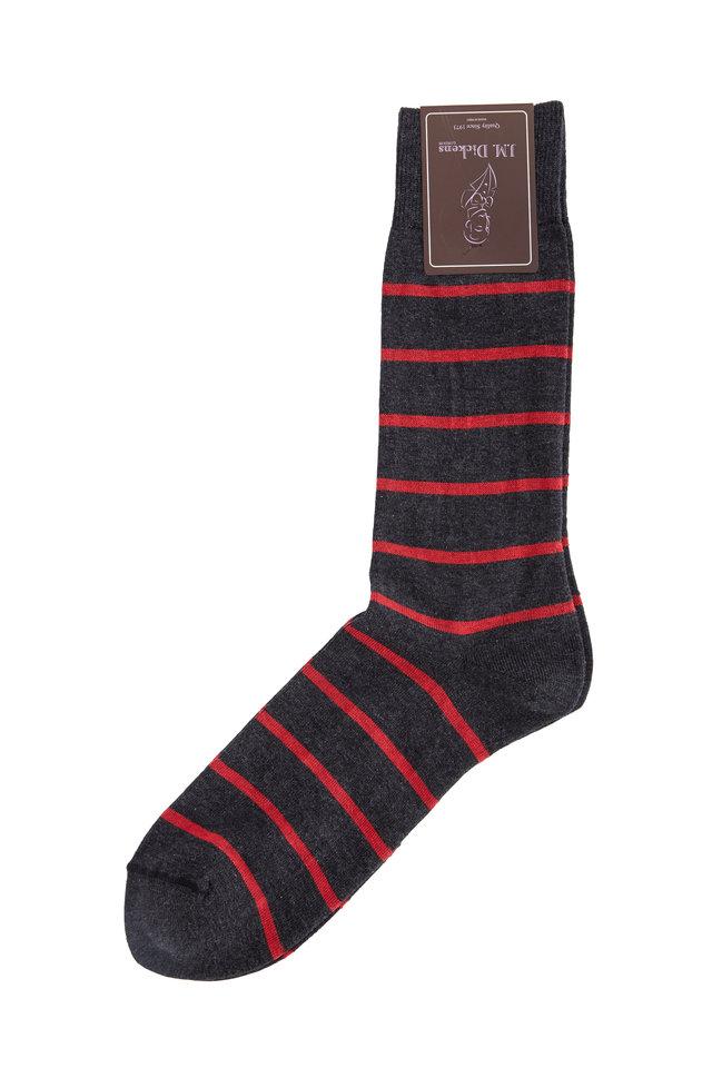 Gray & Red Striped Pima Cotton Blend Socks