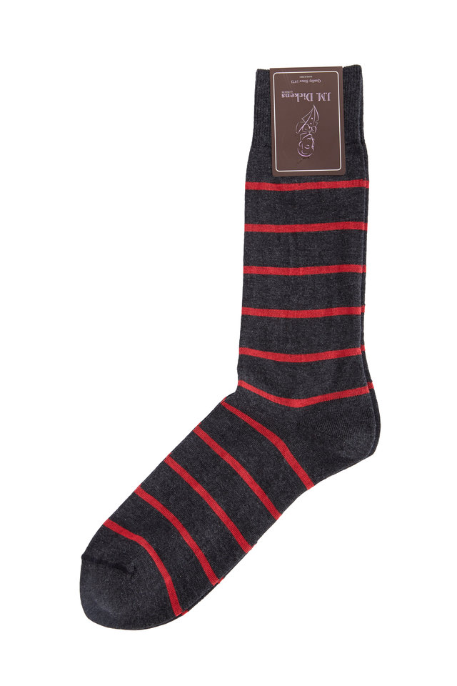 Gray & Red Striped Pima Cotton Blend Socks