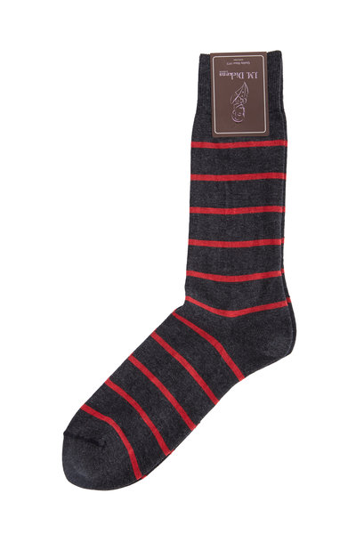 British Apparel - Gray & Red Striped Pima Cotton Blend Socks