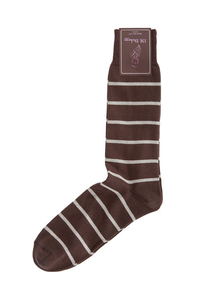 British Apparel - Brown & Gray Striped Pima Cotton Blend Socks
