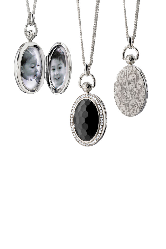 Silver Black Onyx Sapphire Pocket Watch Locket