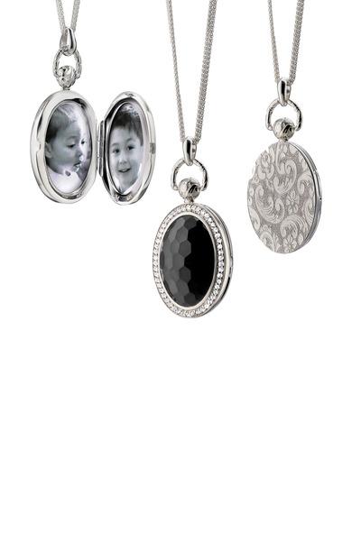 Monica Rich Kosann - Silver Black Onyx Sapphire Pocket Watch Locket