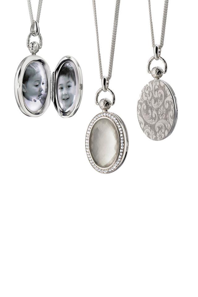 Sterling Silver Crystal Pearl & Diamond Locket