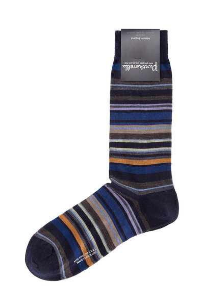 Pantherella - Navy Blue Multi-Striped Wool Blend Socks