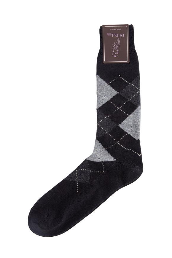 British Apparel Black Argyle Pima Cotton Blend Socks