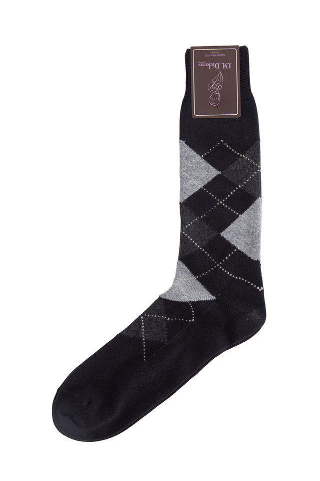 Black Argyle Pima Cotton Blend Socks