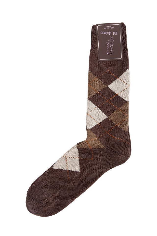 Brown Argyle Pima Cotton Blend Socks