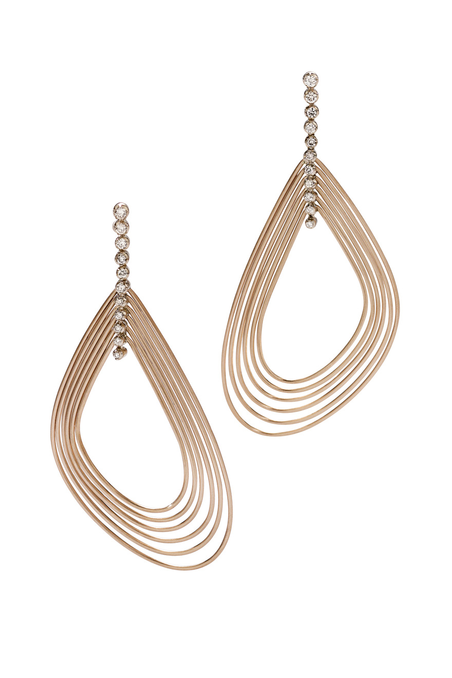 Iris Red Gold Diamond Earrings