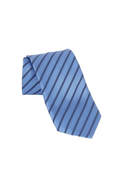 Ermenegildo Zegna - Light Blue Textured Striped Silk Necktie