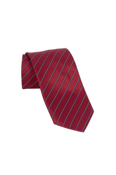 Ermenegildo Zegna - Red & Navy Blue Striped Silk Necktie