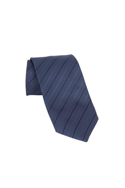 Ermenegildo Zegna - Dark Gray & Navy Blue Striped Silk Necktie