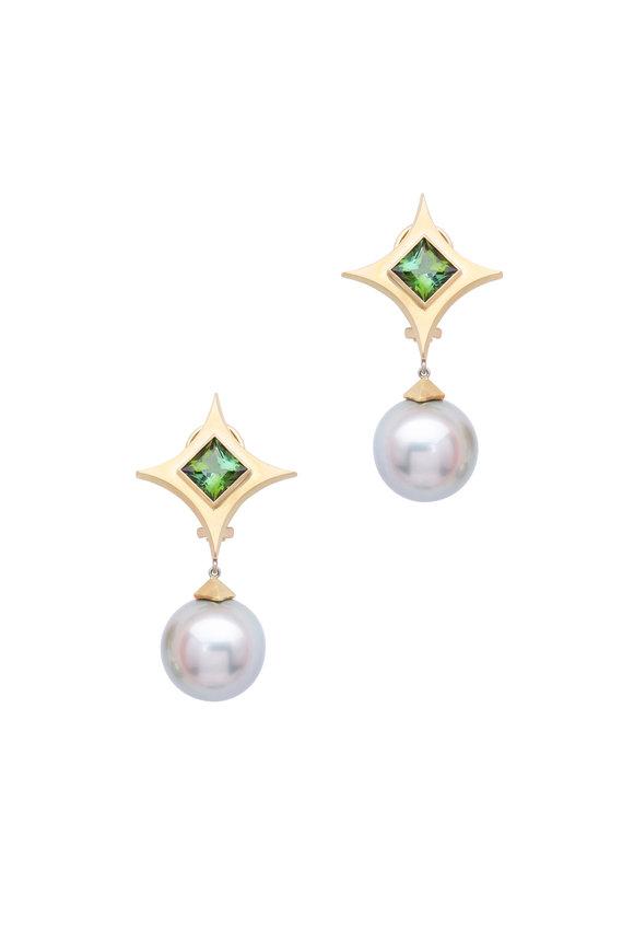 Frank Ancona Gold South Sea Pearl Tourmaline Drop Earrings