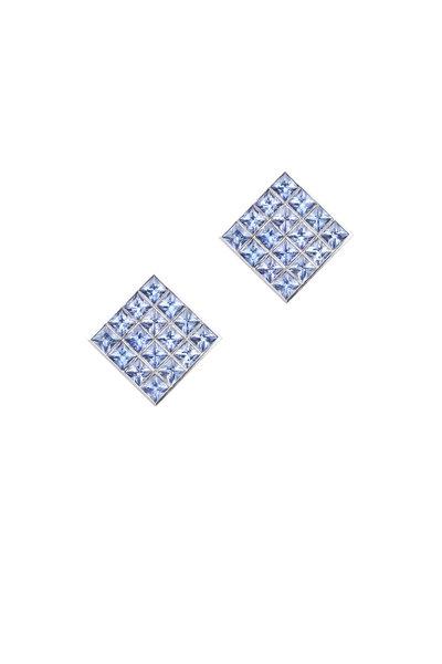 Frank Ancona - White Gold Blue Sapphire Earrings