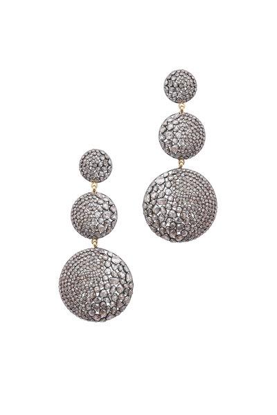 Loren Jewels - Gold & Silver Three Circle Diamond Drop Earrings