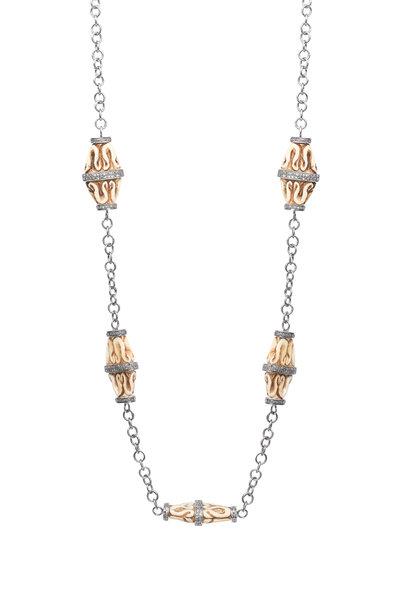 Loren Jewels - Stering Silver Diamond & Bone Necklace