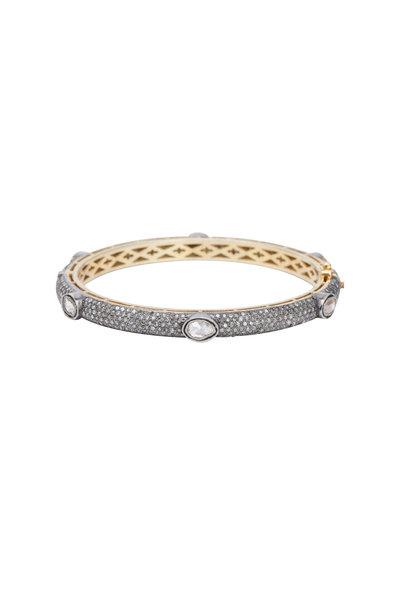 Loren Jewels - Gold & Silver Diamond Bangle Bracelet