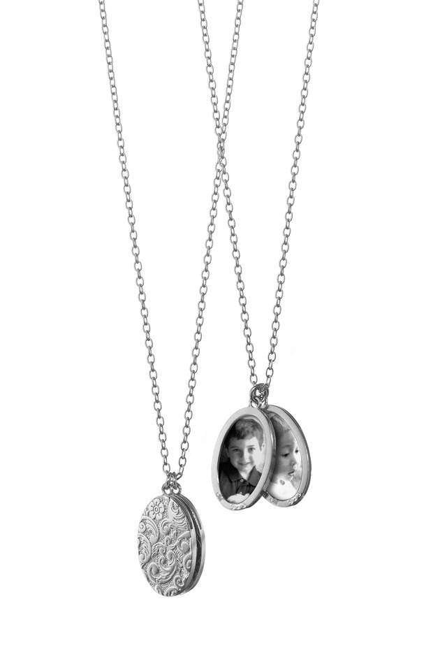 Sterling Silver Floral Locket Necklace