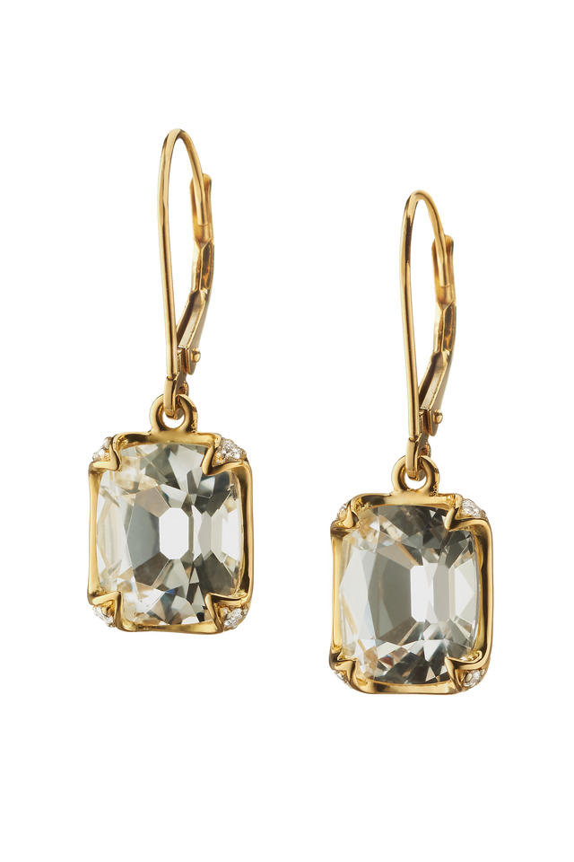 Gold Rock Crystal Diamond Earrings