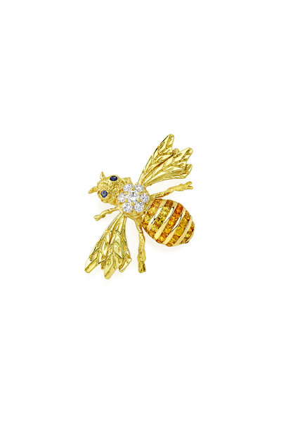 Aaron Henry - Yellow Gold Ribbed Tailed Bee Pin