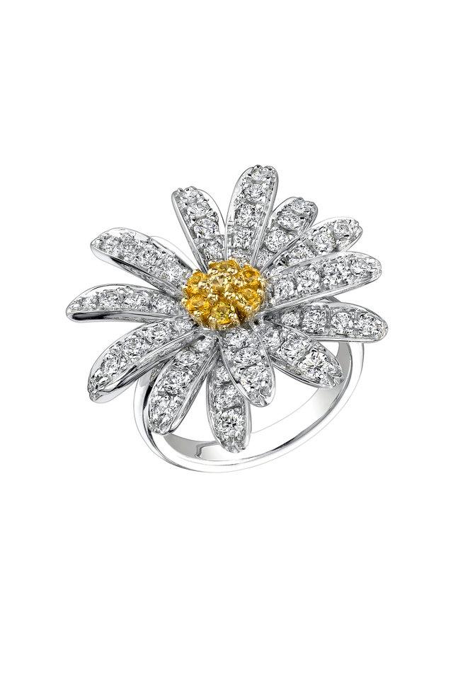 White Gold Diamond Daisy Ring