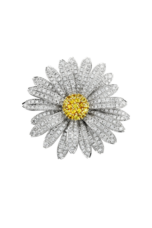 White Gold Diamond Daisy Flower Pin