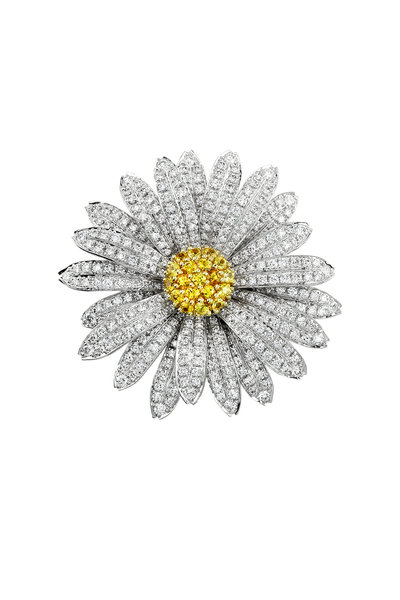 Aaron Henry - White Gold Diamond Daisy Flower Pin