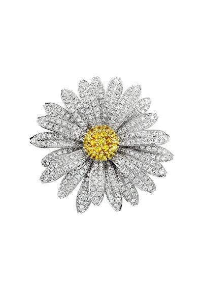 Aaron Henry - White Gold Diamond Daisy Flower Pin