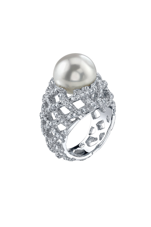 White Gold Diamond Woven South Sea Pearl Ring