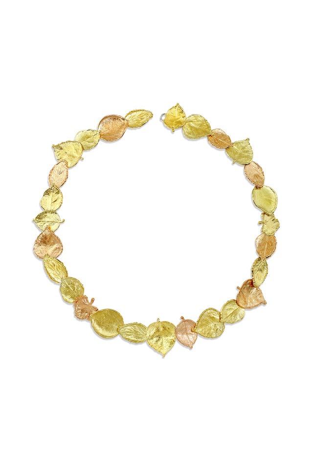 Three Colored Gold Leaf Necklace