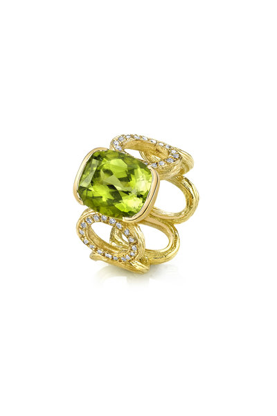 Aaron Henry - Yellow Gold Diamond Cushion Peridot Ring