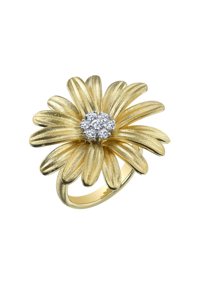 Yellow Gold Diamond Daisy Ring