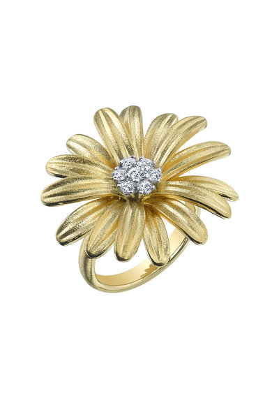 Aaron Henry - Yellow Gold Diamond Daisy Ring