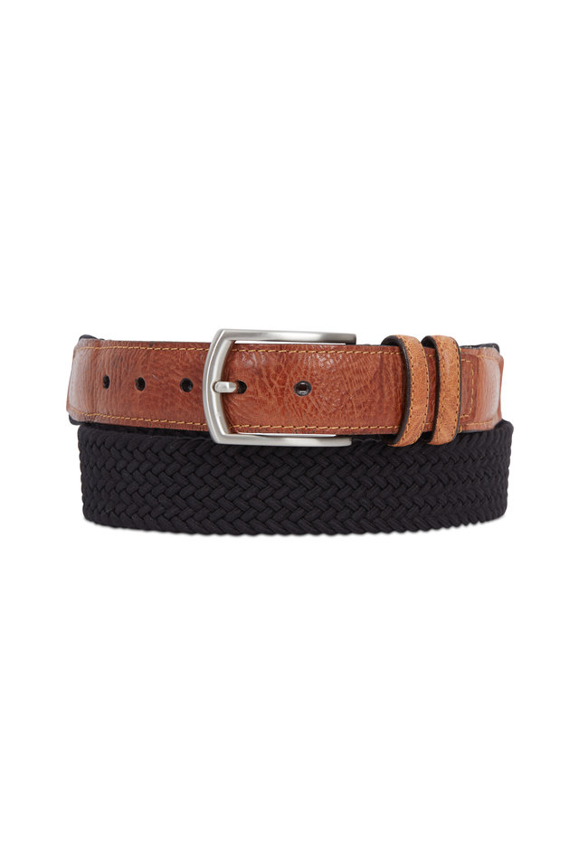 Black Elasticized Braided Cotton & Leather Belt