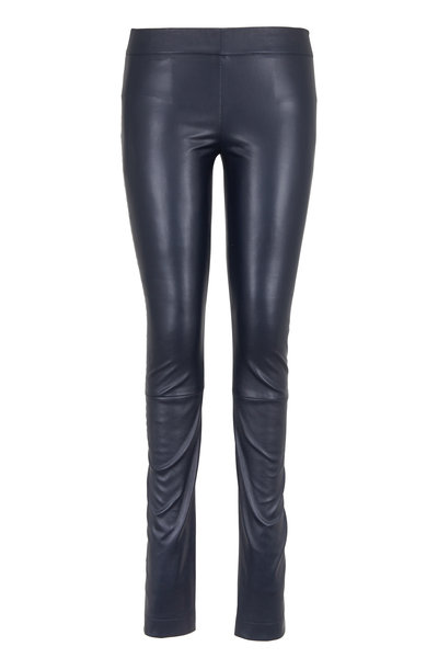 The Row - Navy Blue Stretch Leather Moto Leggings