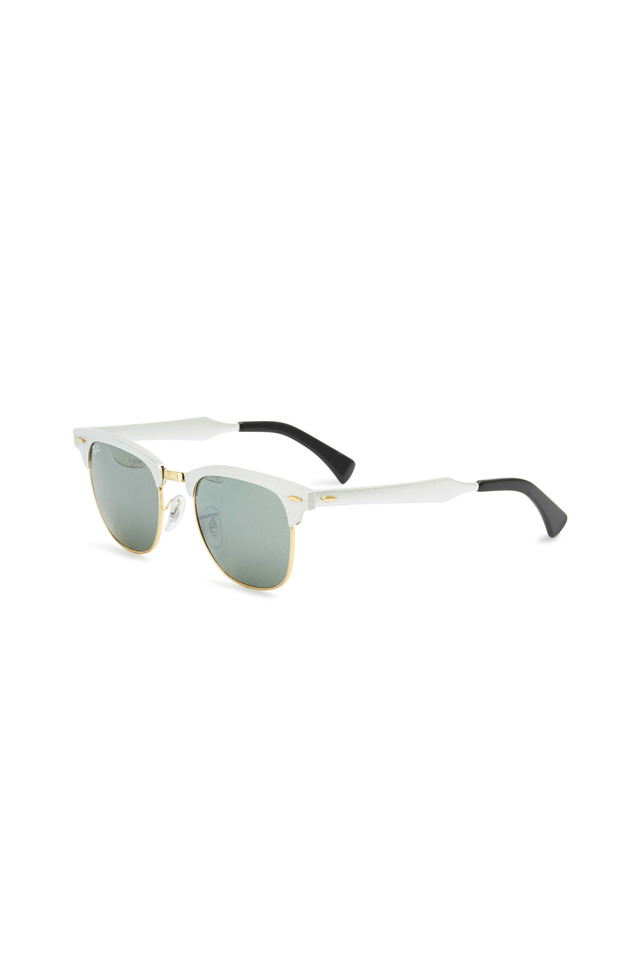 Clubmaster Brushed Silver Square Sunglasses